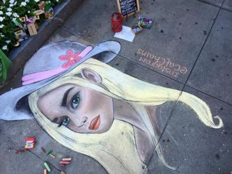 Chalk Girl in a Sun Hat by CatChalks