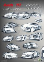 Audi R7 ideation sketches by yasiddesign