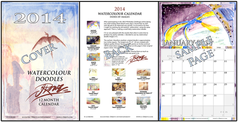 2014 12 mo. J.S. Rowe Watercolour Doodle Calendar by Quirx