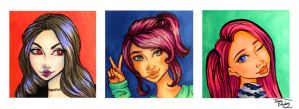Girls - Three Copic Marker Drawings by JennaDrawing