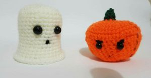 Ghost and Pumpkin Halloween Plushies by Miss-Crafty-Fox
