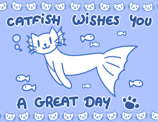 [Random Cats] Catfish - Summer Card Project by Liny-An