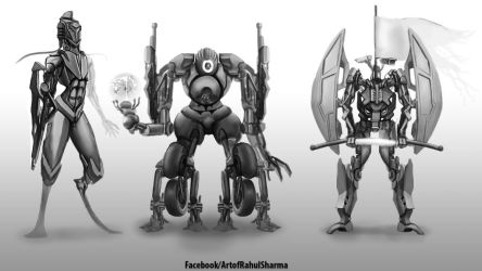 Quick greyscale designs by TheComicArtist