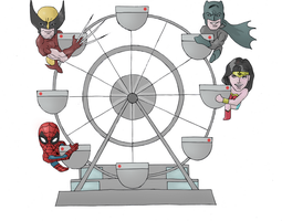 Ferris wheel superheroes by electronicdave
