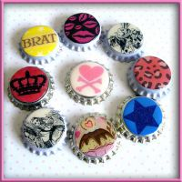 Bottle Cap Necklace Charms by wickedland