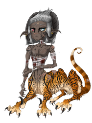 [HNH] Rue- Stripes of the Crying Raptor (Oc) by ChemicallyAbsolute