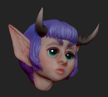 Zbrush demon girl coloring test by V-Mordecai