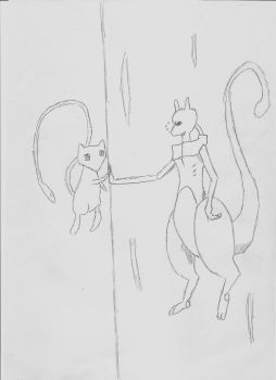 Mew and Mewtwo by Negistalker