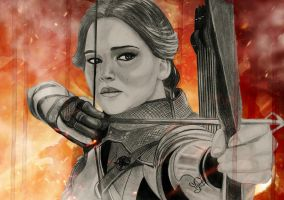 Katniss Mockingjay by JabberjayArt