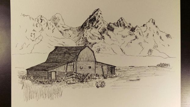 Montain Sketch unfinished work 02012018 by akarudsan