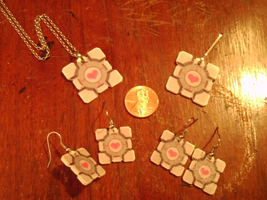 Companion Cube Earrings by VickyViolet