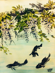 Fish and Wisteria, sumi ink and watercolor, 2016 by EkashmaDas