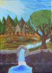Landscape fairies field (acrylic) by Insanity-in-my-box