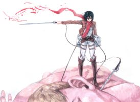 Shingeki No Kyojin Mikasa Ackerman Solo Kill by Nick-Ian