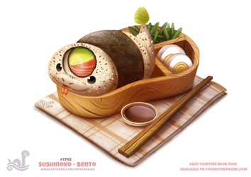 Daily Painting 1745# Sushinoko - Bento by Cryptid-Creations