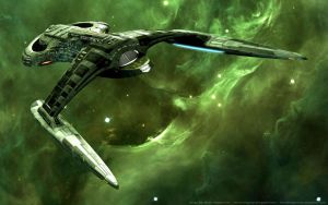 USS Phoenix in Green Nebula by MarkKingsnorth