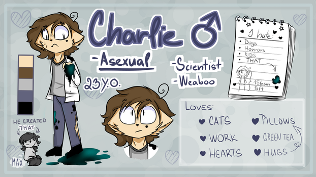 Fursona - Charlie (Reference sheet) by GalaxiaArts