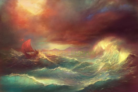 Boat in a storm by MartaNael