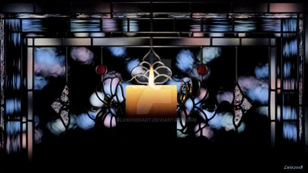 Candle Light Stained Glass window by OLGWoodArt