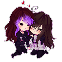 [Mini Chibi Commission: SwiggySwoody] Girlfriends by Neon-Hazard