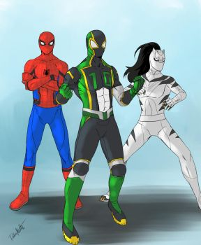 Spider-Man, Green 10 and White Tiger by SpiderDetentionaire