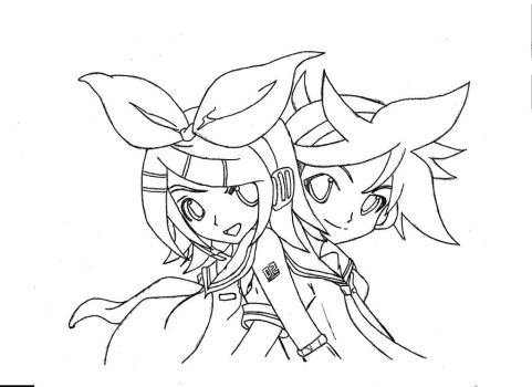 Rin and Len Kagamine Line by mobeus5018