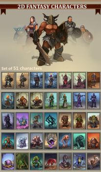 2D Fantasy Characters by GraphicAssets