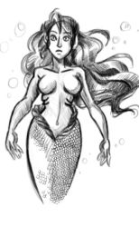 Mermaid digital sketch by cherryhobbit