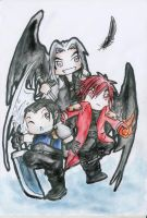 Three One Winged Angels by Violet-Flower