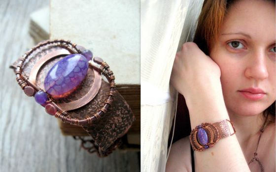 purple bracelet - wire wrapped copper by Lirimaer86