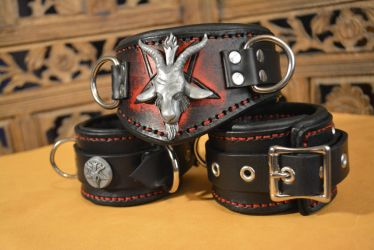 Baphomet Cuffs and Collar by SavagePunkStudio