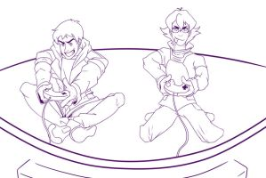 Pidge And Lance Playing Video Games by AlexWolfen