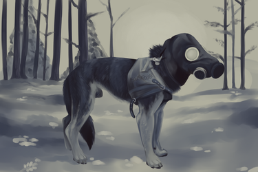 Gas Mask Dog by aSoulsApogee