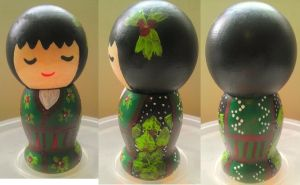 Japanese Kokeshi Chrismas Doll by Froggy-Spaztastic