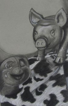 Pigs Among The Cows by peppermeek