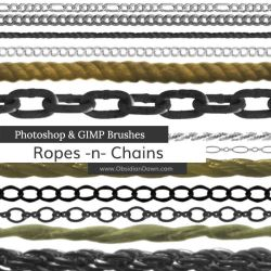 Ropes -n- Chains Photoshop and GIMP Brushes by redheadstock