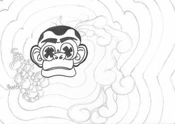 Psychedelic monkey sketch - 23/12/2017 by sacerludum