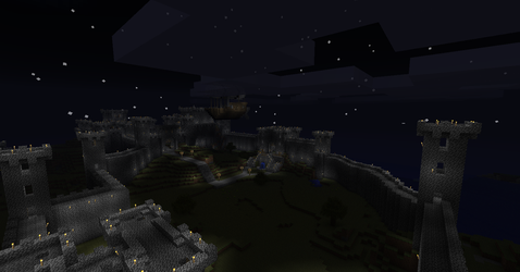 Cobble Castle at night by Sylnoss