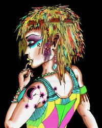 Raver Chick Black Background by Benshurts