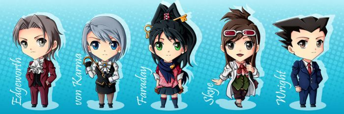 Ace Attorney Chibis by CelestialRayna