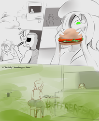 Pandora eats junk food for the first time (comic) by Bawko