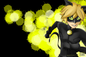 Chat Noir wallpaper black/green bg by SEGLDRAWS