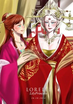Elsanna in traditional Chinese costume by LORELEI-LilyPrincess