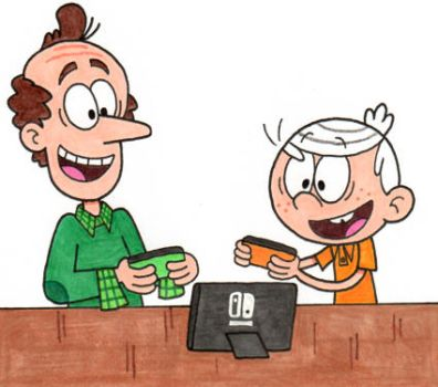 Lincoln and Lynn Sr. Playing the Switch by nintendomaximus