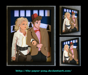 11x14 11th Doctor and River Song Shadowbox by The-Paper-Pony