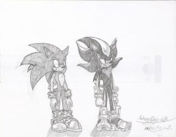 Sonic and Shadow Sketches by Hotfeet444