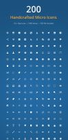 200 Handcrafted Micro Icons (PSD) by PremiumPixels