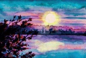Maine October Sunset by aragonia