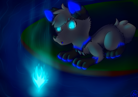 Sara and blue fire on water by SaraTheDog848
