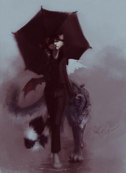 in the rain by Orphen-Sirius